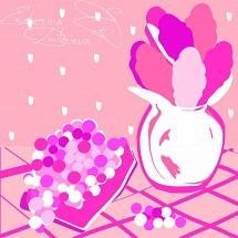 Pink grapes and pink hyacinths