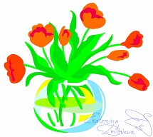 Red tulips in a round transparent glass vase