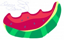 One slices of watermelon vector illustration